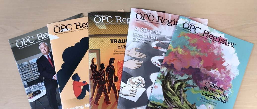 OPC Register magazine fan spread of past issues